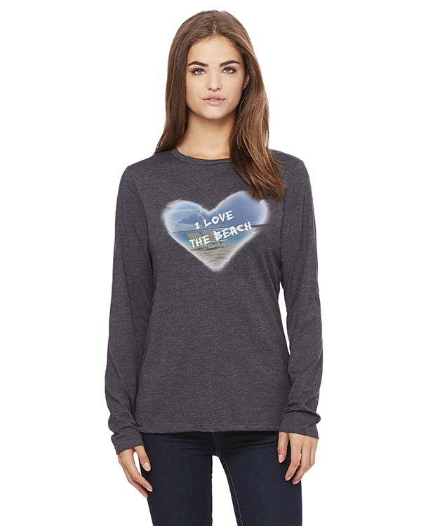 Women's Long Sleeve I Love the Beach T-Shirt (Gray)