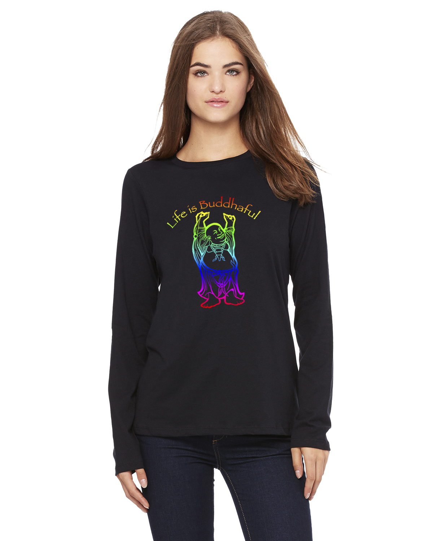 Women's Long Sleeve Life is Buddhaful Yoga T-Shirt (Black Rainbow)