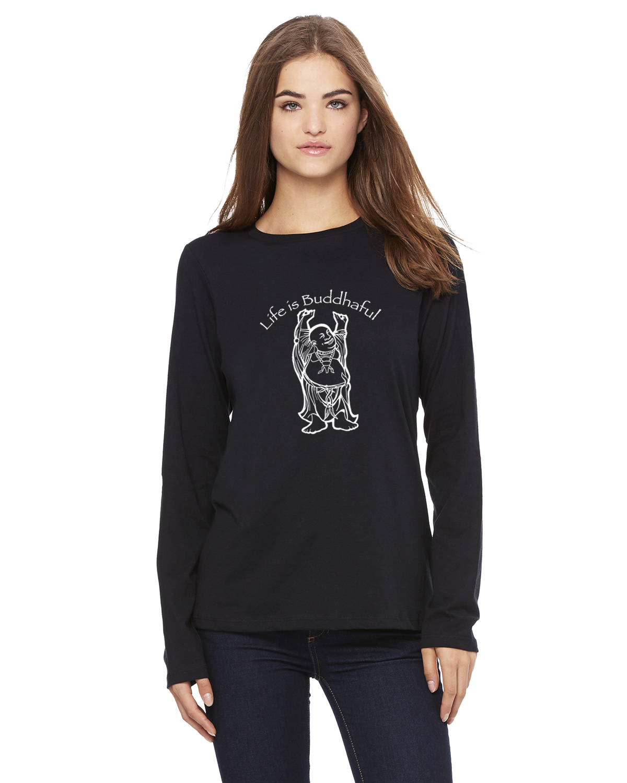 Women's Long Sleeve Life is Buddhaful Yoga T-Shirt (Black)