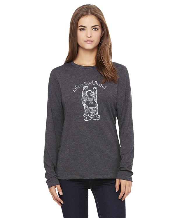 Women's Long Sleeve Life is Buddhaful Yoga T-Shirt (Gray)