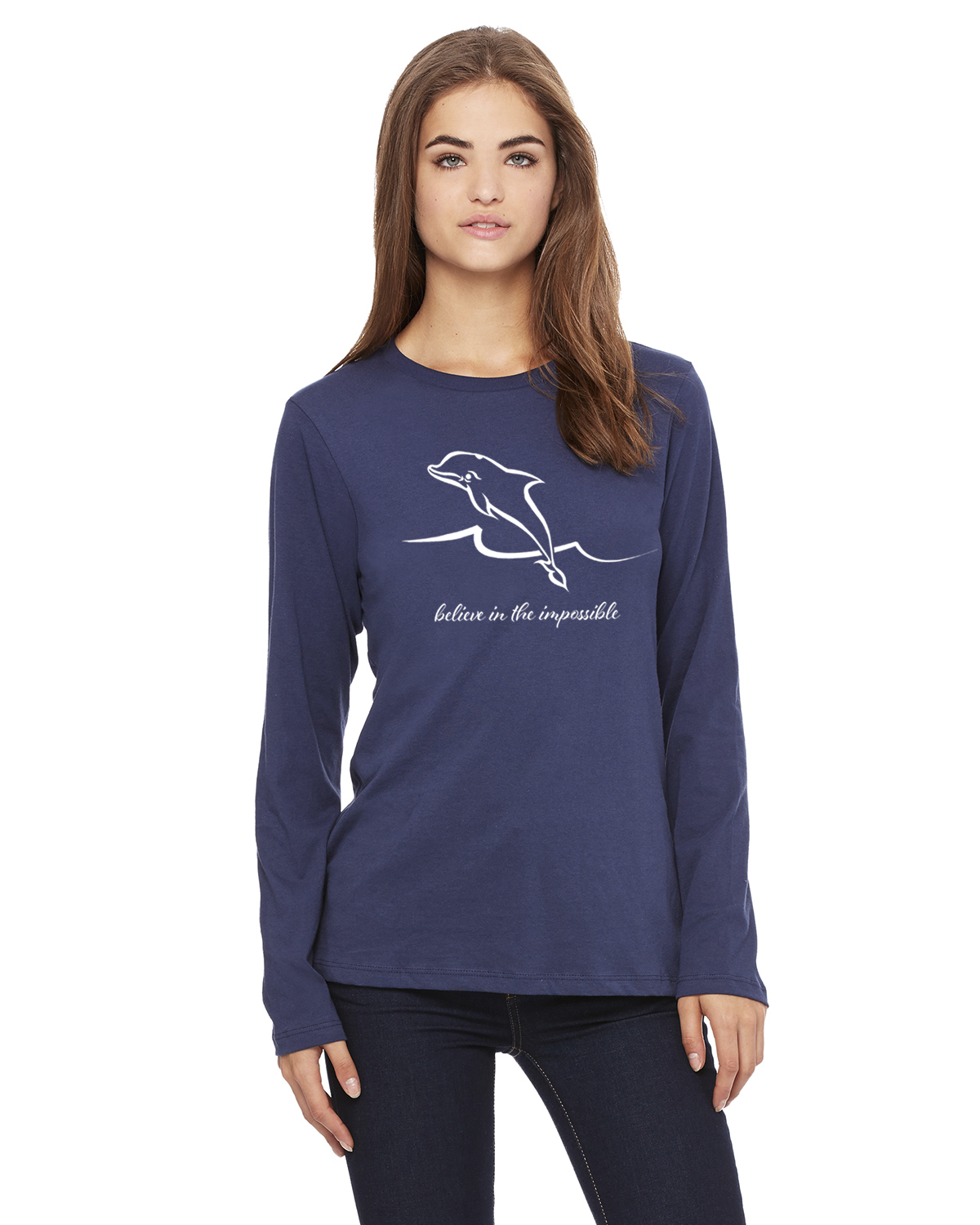 Women's Long Sleeve Dolphin Believe T-Shirt (Navy)