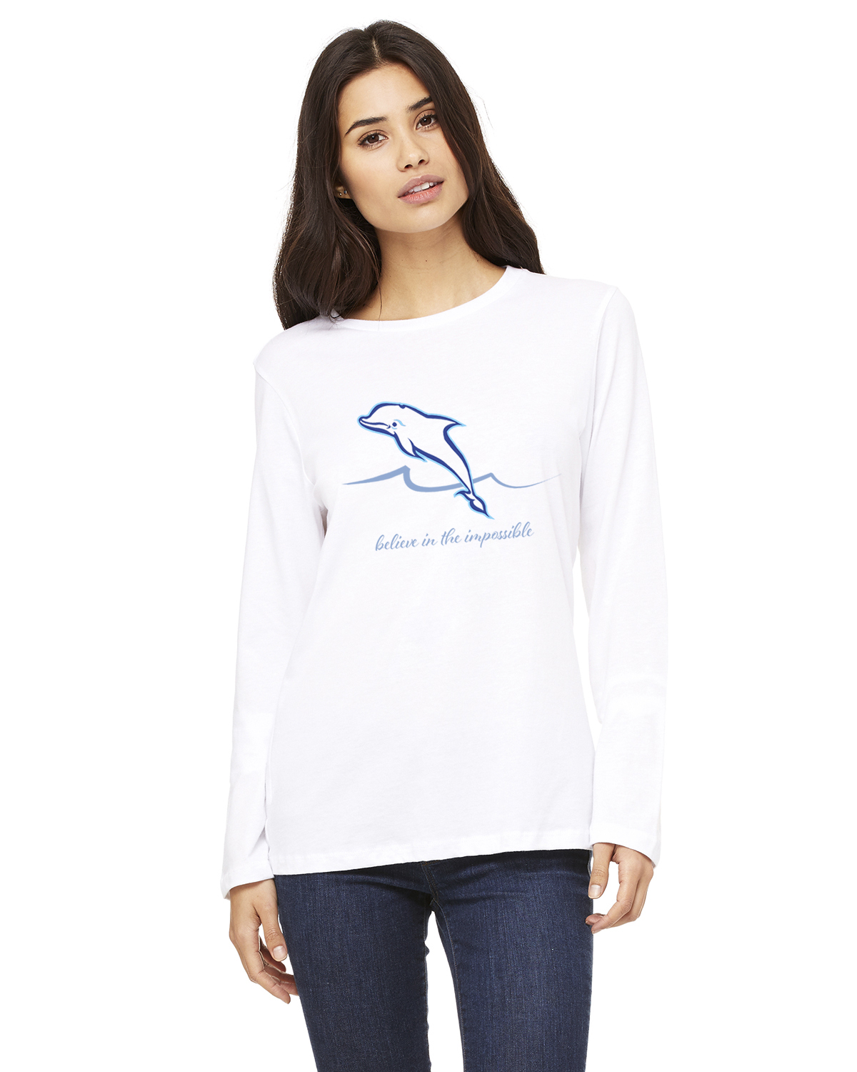 Women's Long Sleeve Dolphin Believe T-Shirt (White)