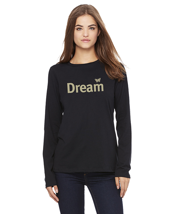 Women's Long Sleeve Dream Inspirational T-Shirt (Black)