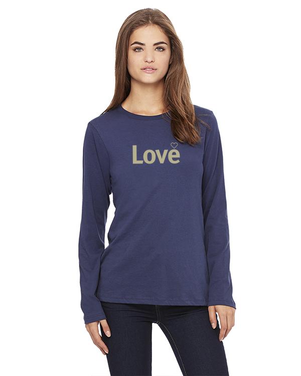 Women's Long Sleeve Love Inspirational T-Shirt (Navy)