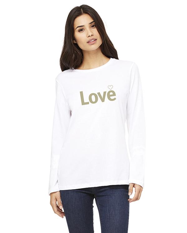 Women's Long Sleeve Love Inspirational T-Shirt (White)