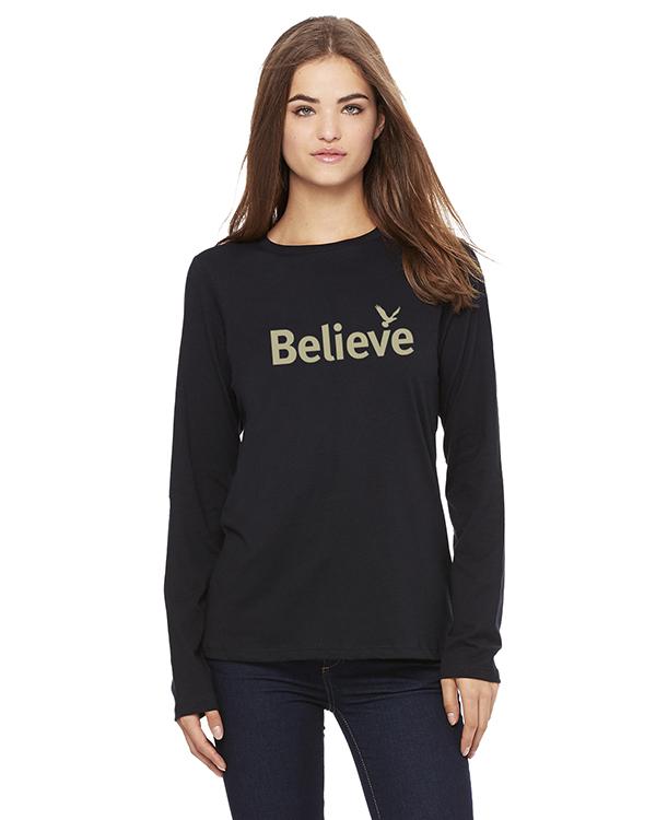 Women's Long Sleeve Believe Inspirational T-Shirt (Black)