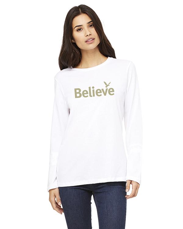 Women's Long Sleeve Believe Inspirational T-Shirt (White)