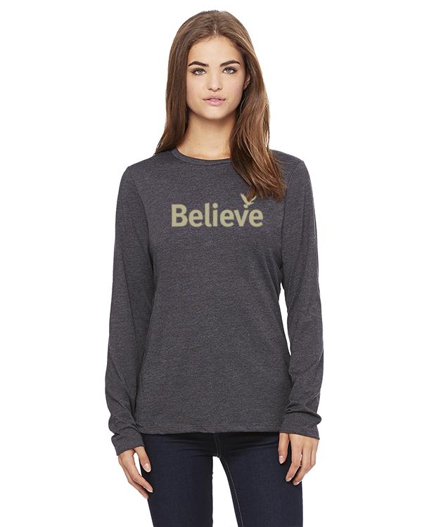 Women's Long Sleeve Believe Inspirational T-Shirt (Gray)