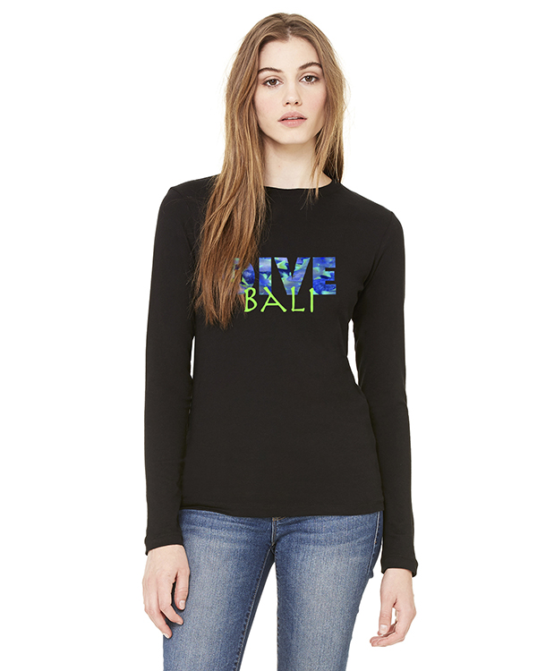 Women's Long Sleeve DIVE Bali T-Shirt (Black)