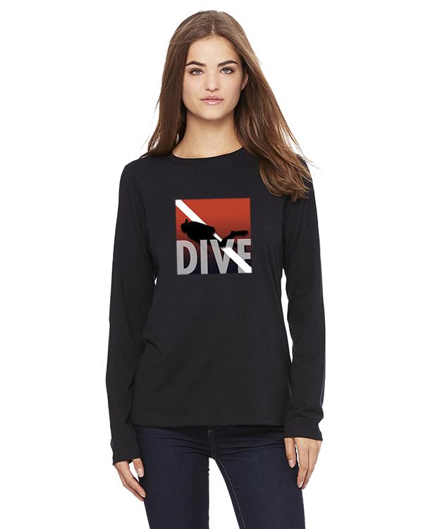 Women's long sleeve DIVE t-shirt (Black)