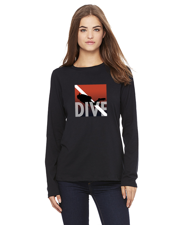 Women's long sleeve DIVE t-shirt (Black)