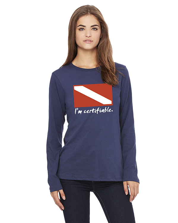 Women's Long Sleeve I'm Certifiable T-Shirt (Navy)
