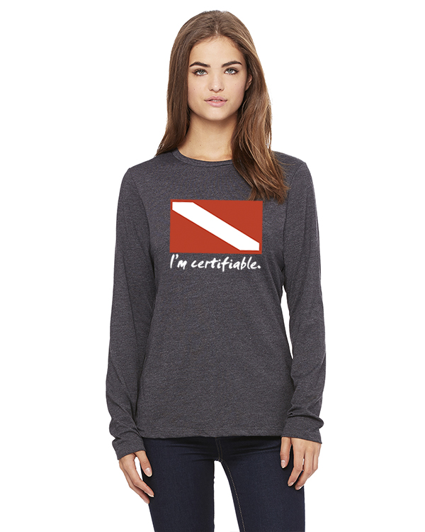 Women's Long Sleeve I'm Certifiable T-Shirt (Gray)