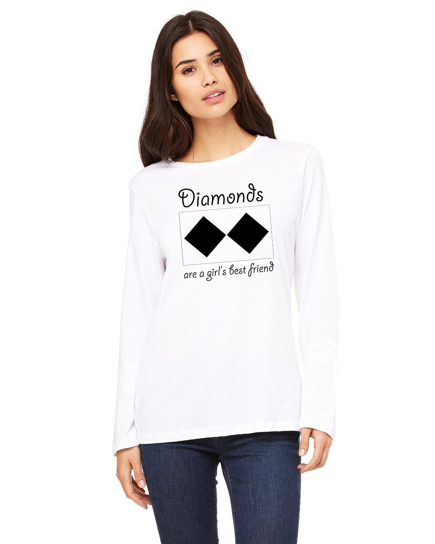 Women's Long Sleeve Ski/Snowboard t-shirt all cotton (white)