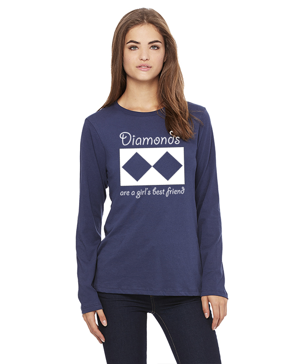 Women's Long Sleeve Ski/Snowboard t-shirt all cotton (navy)
