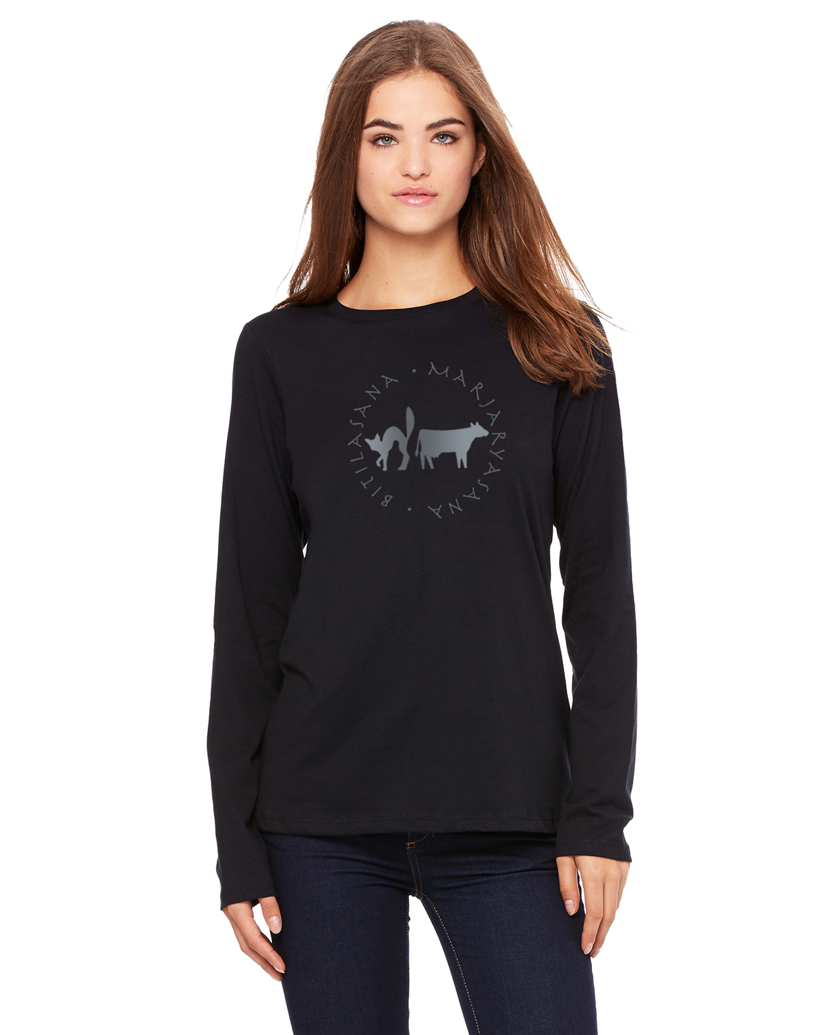 Women's long sleeve all cotton crew neck (black)