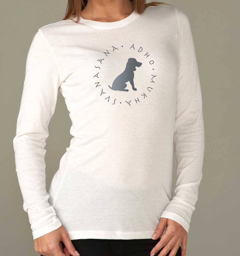 Women's Long Sleeve Down Dog Yoga T-Shirt (White)
