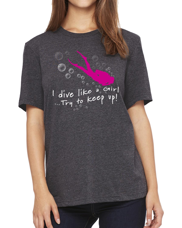 I dive like a girl women's scuba diving t-shirt (dark heather)
