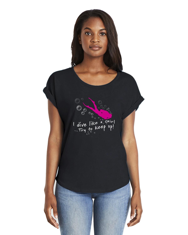 I dive like a girl women's scuba diving dolman sleeve t-shirt (black)