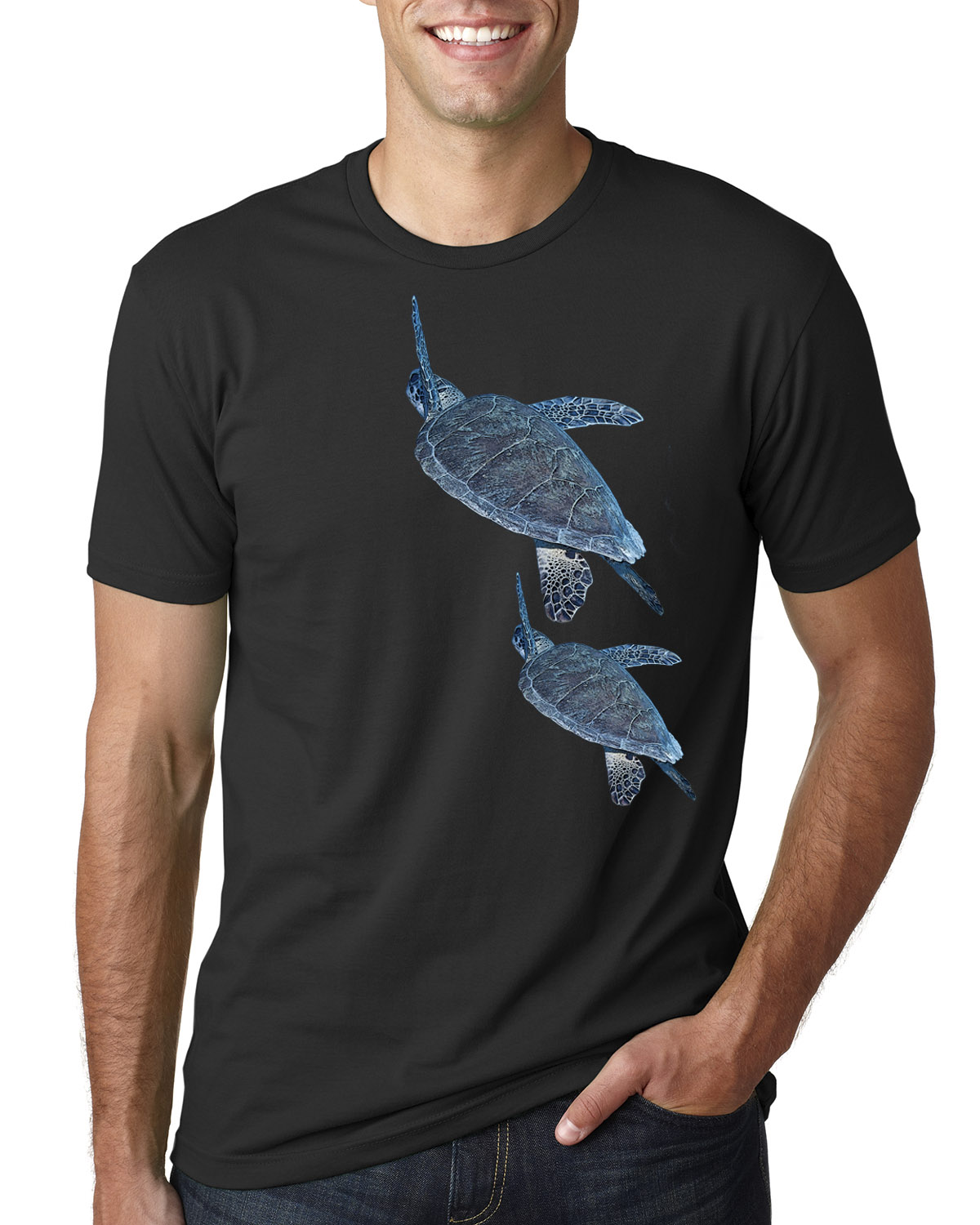Men's Short Sleeve, Crew Neck Sea Turtle T-shirt (Black)
