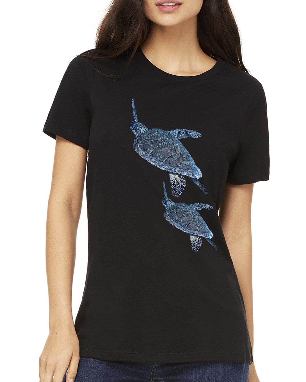 Crew Neck Sea Turtle T-shirt (Black)