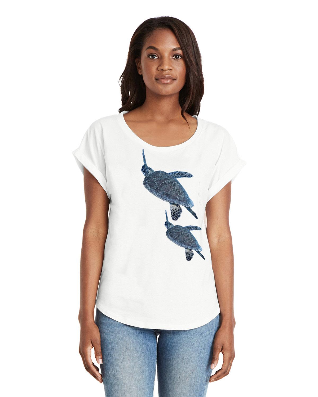 Women's Dolman Sleeve Sea Turtle T-shirt (White)