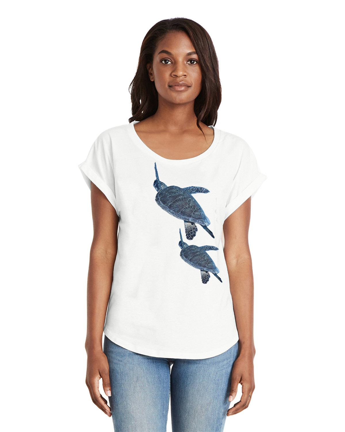 Women's Dolman Sleeve Sea Turtle T-shirt (White)