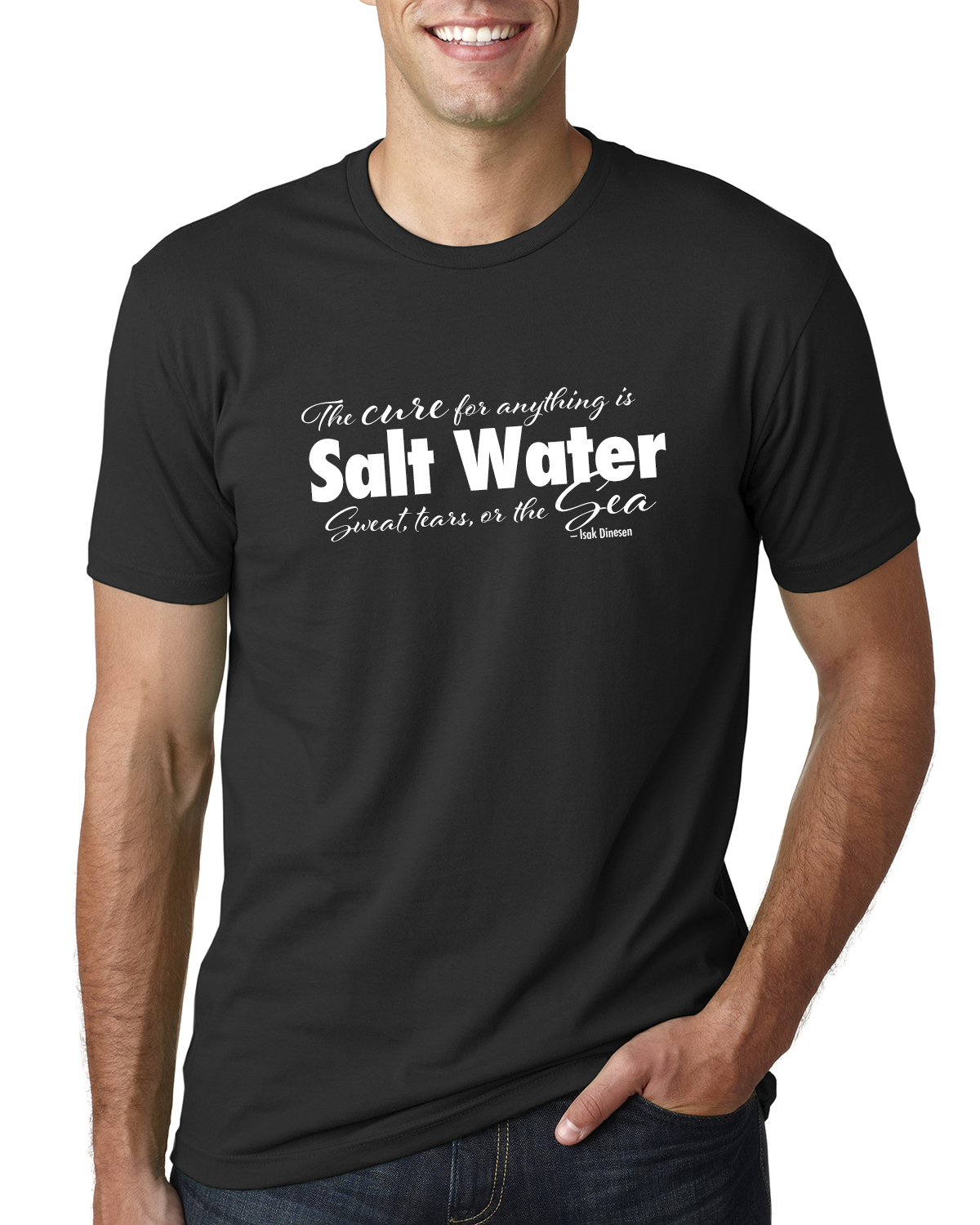 Men's Short Sleeve Salt Water QuoteT-shirt (black)