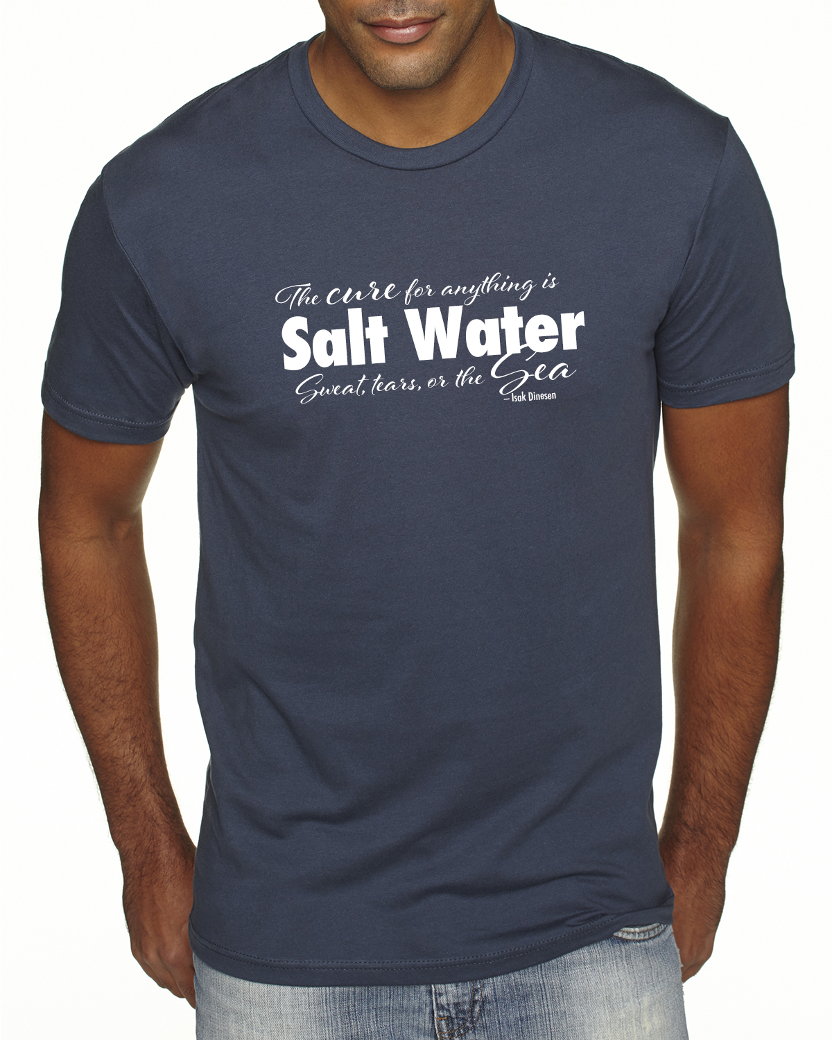 Men's Short Sleeve Salt Water QuoteT-shirt (Indigo)