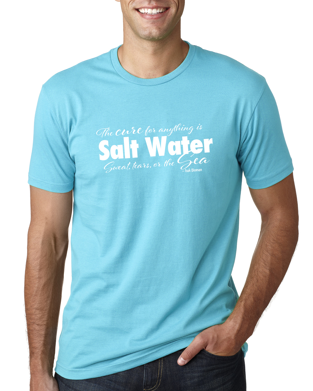 Men's Short Sleeve Salt Water QuoteT-shirt (Tahiti Blue)