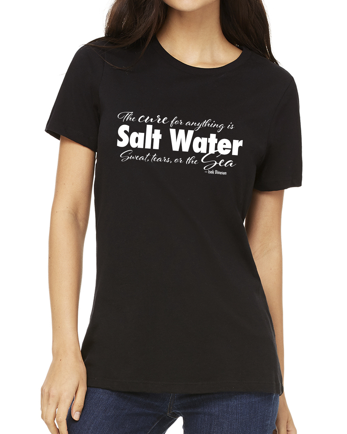 Women's Crew Neck Short Sleeve Salt Water QuoteT-shirt (Black)