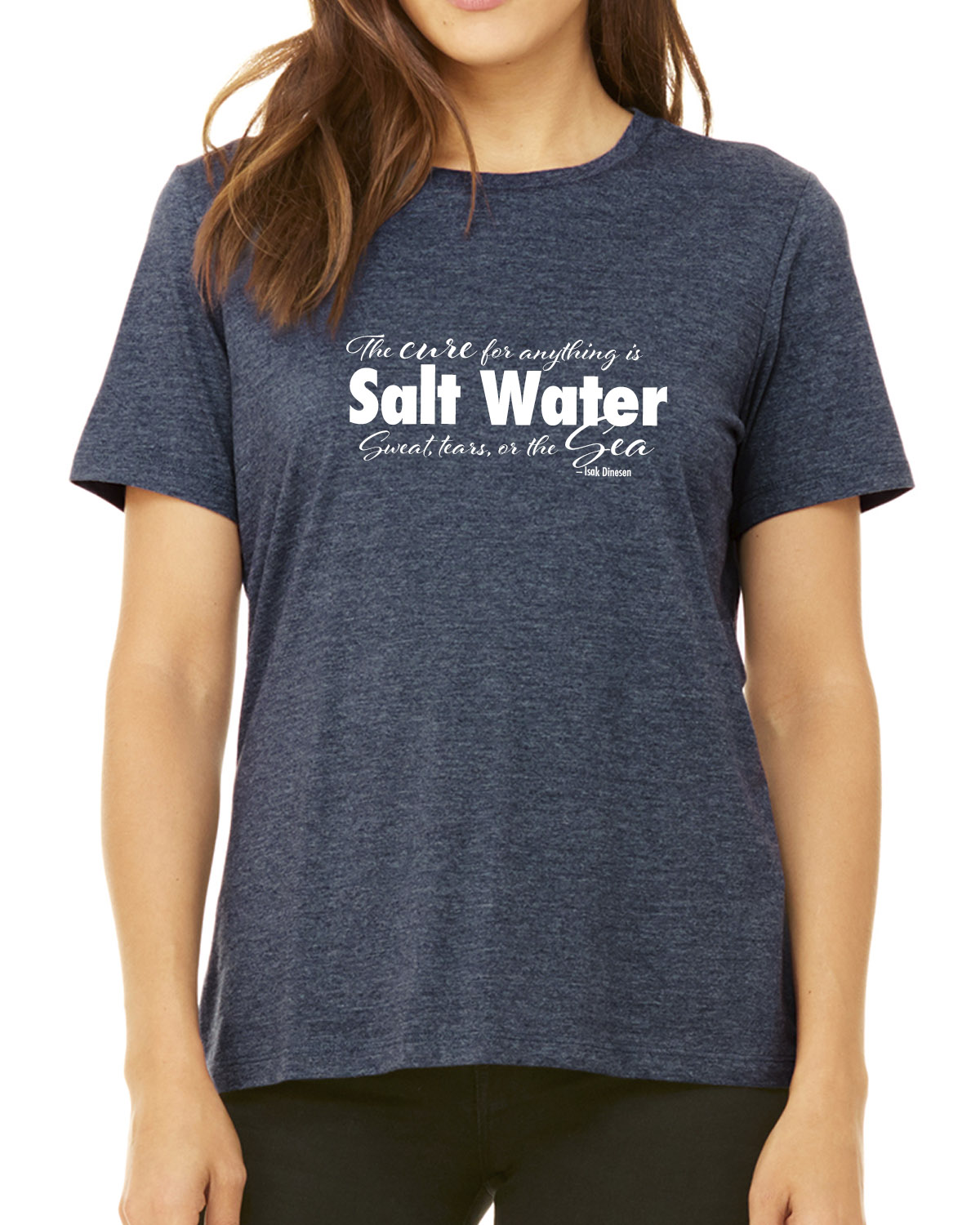 Women's Crew Neck Short Sleeve Salt Water QuoteT-shirt (Heather Navy)