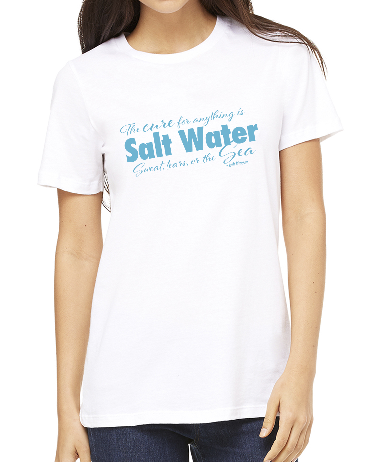 Women's Crew Neck Short Sleeve Salt Water QuoteT-shirt (White)