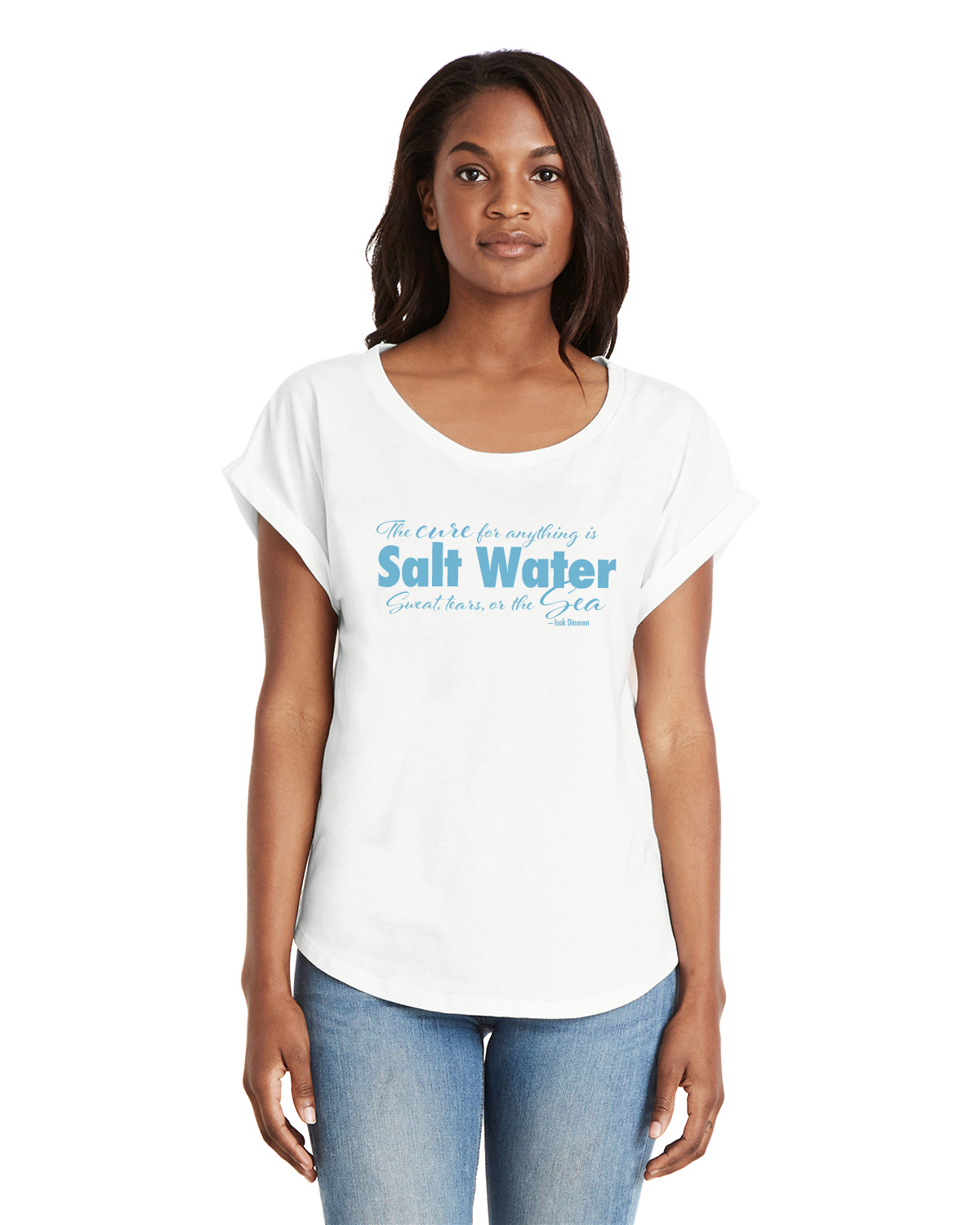 Women's Dolman Sleeve Salt Water QuoteT-shirt (White)