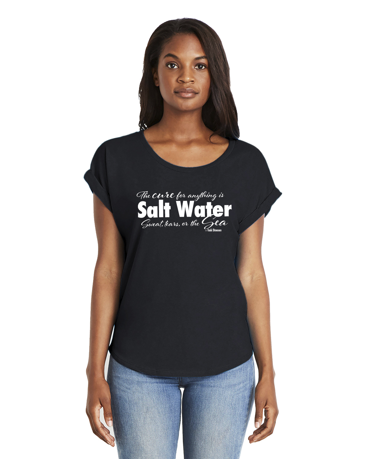 Women's Dolman Sleeve Salt Water QuoteT-shirt (Black)