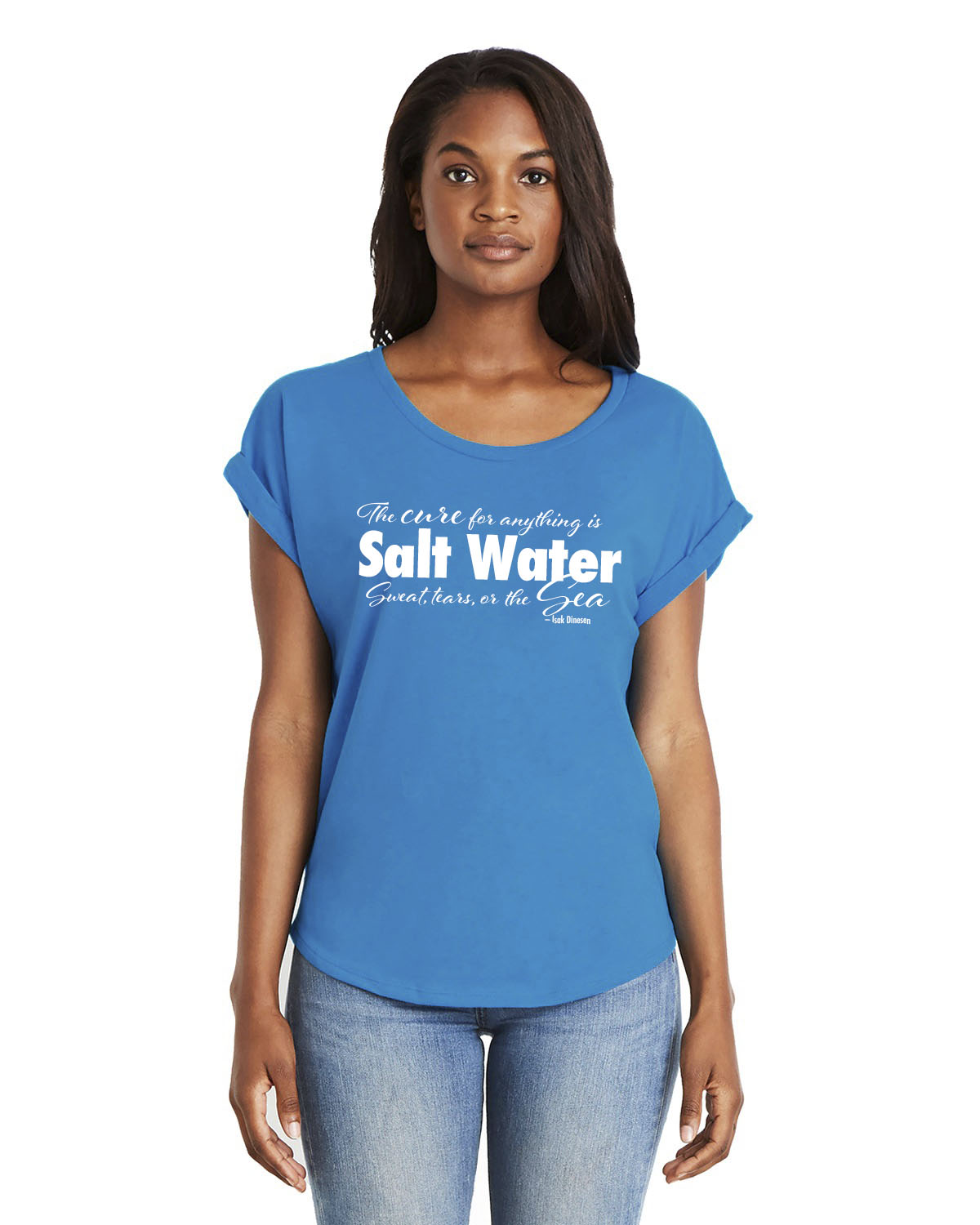 Women's Dolman Sleeve Salt Water QuoteT-shirt (Turquoise)