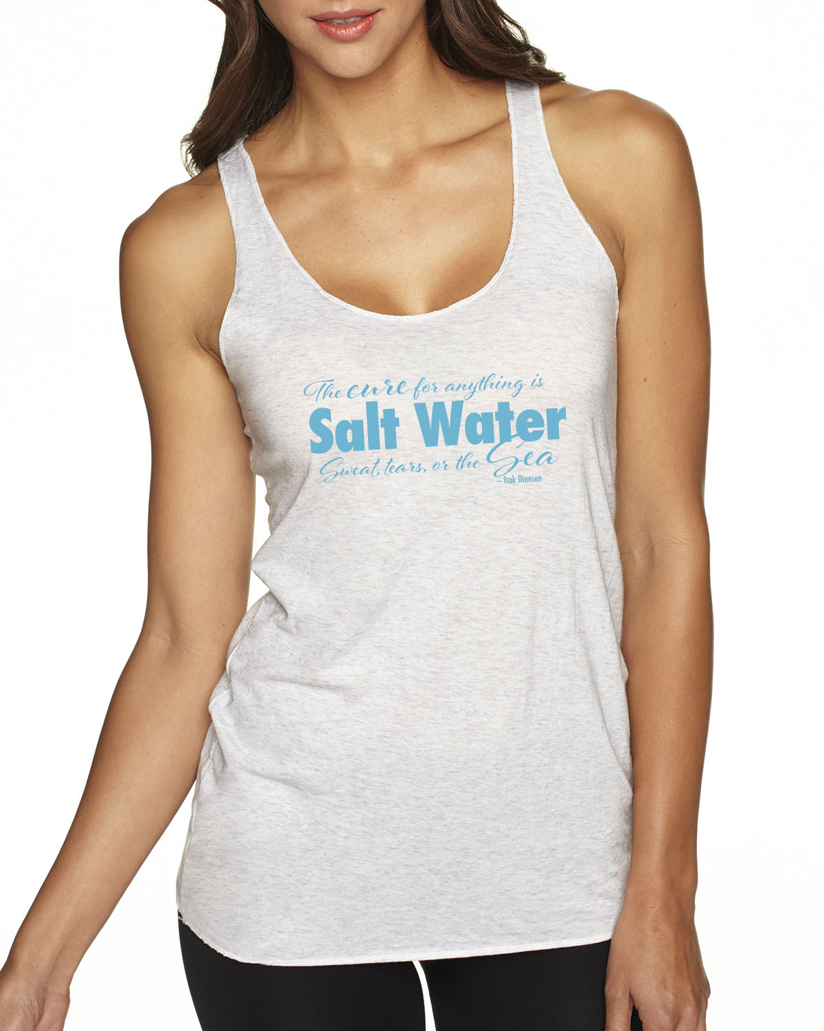 Cure for Anything Tr-blend racer-back tank (Heather White)
