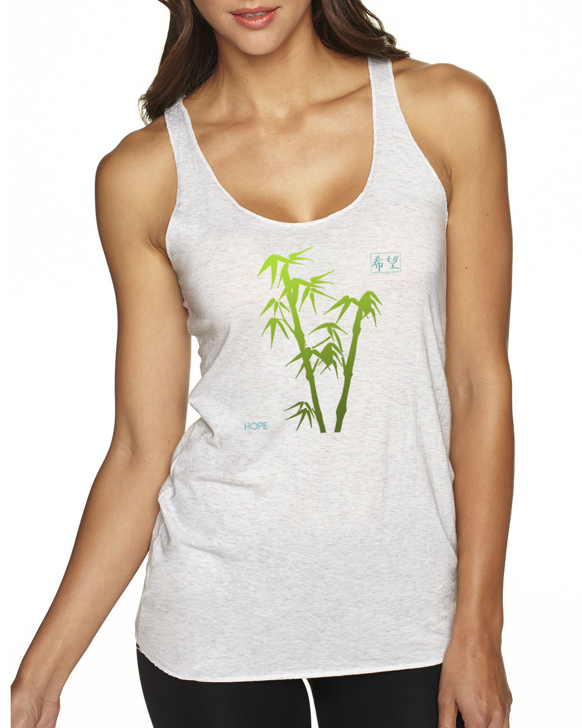 Racer-back tri-blend tank top (heather White)