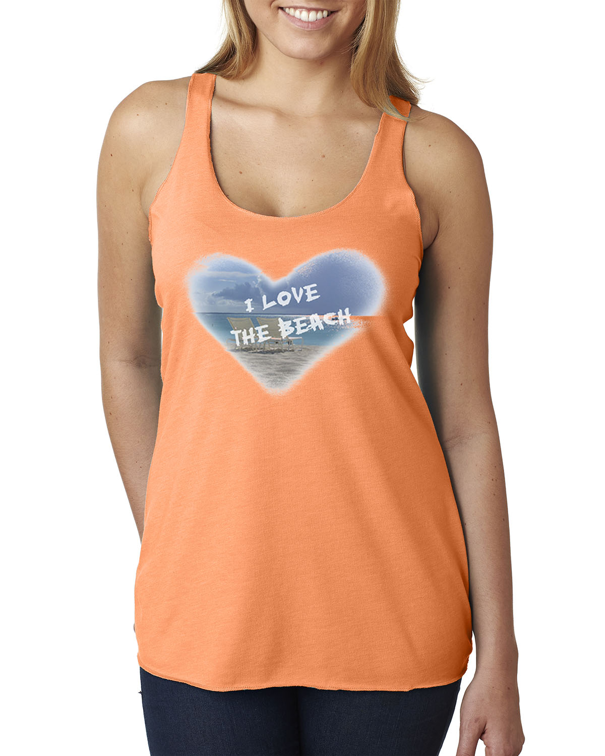 Women's tri-blend racer-back tank top (Orange)