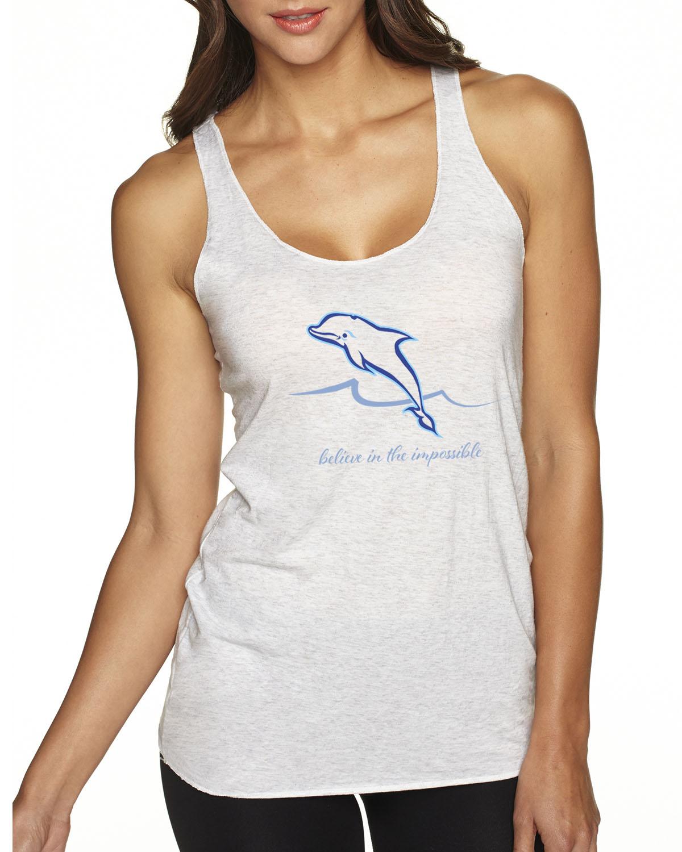 Women's Tri-blend Dolphin Tank Top (Heather White)