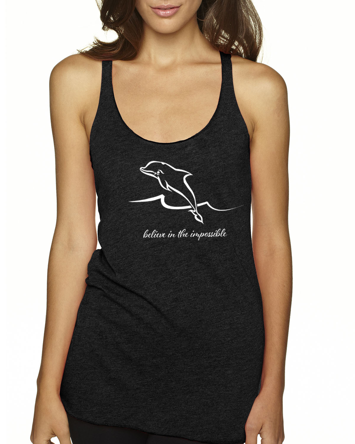 Women's Tri-blend Dolphin Tank Top (Vintage Black)