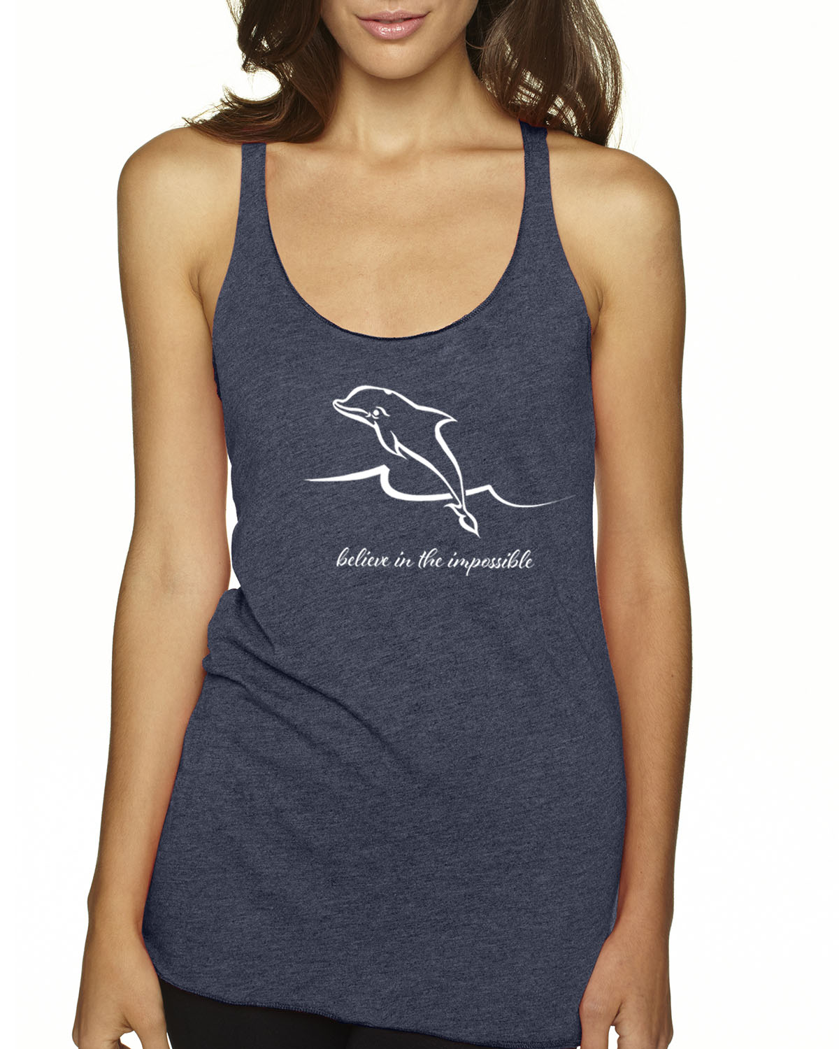 Women's Tri-blend Dolphin Tank Top (Indigo)
