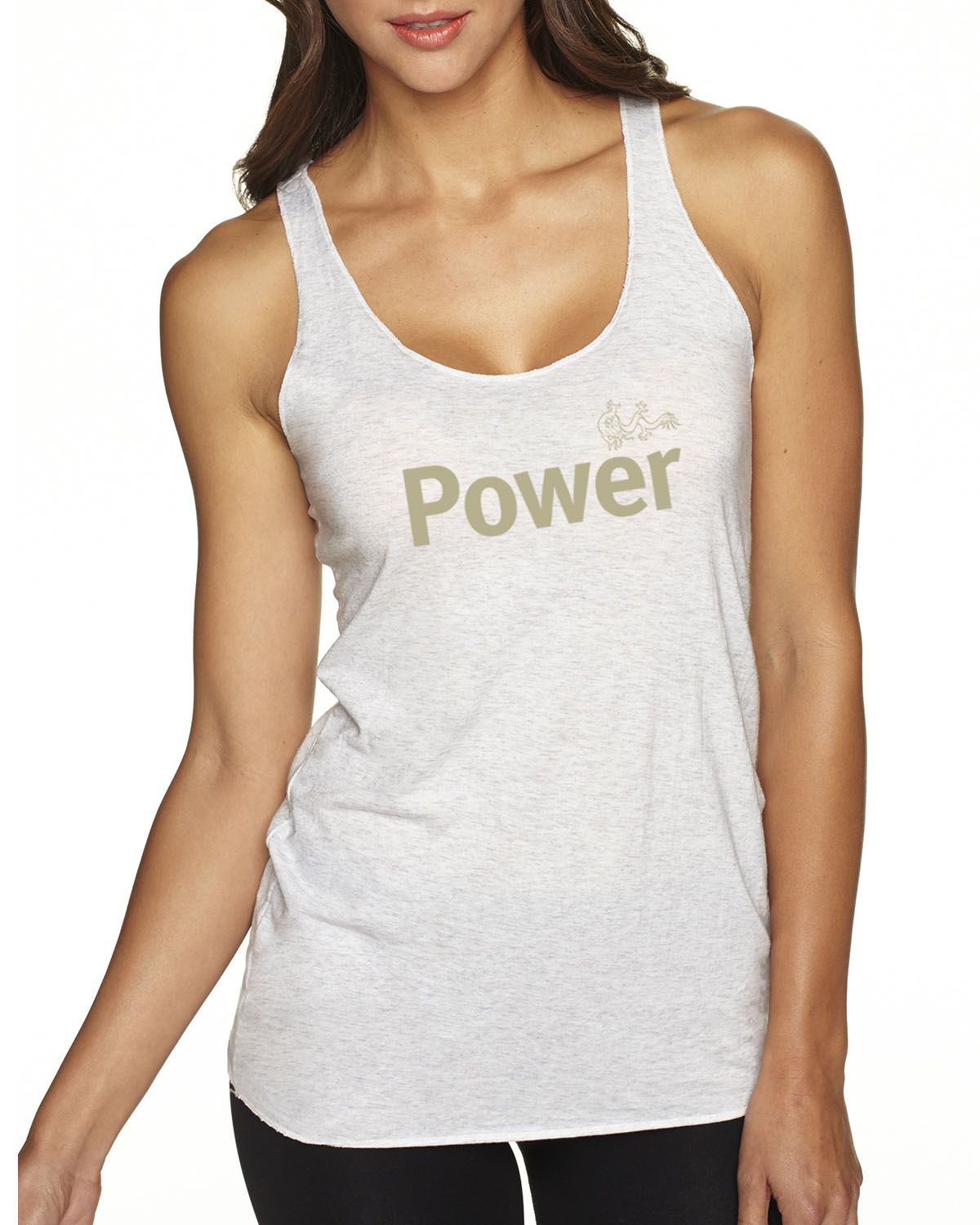 Women's Tri-blend Power Tank Top (Vintage White)