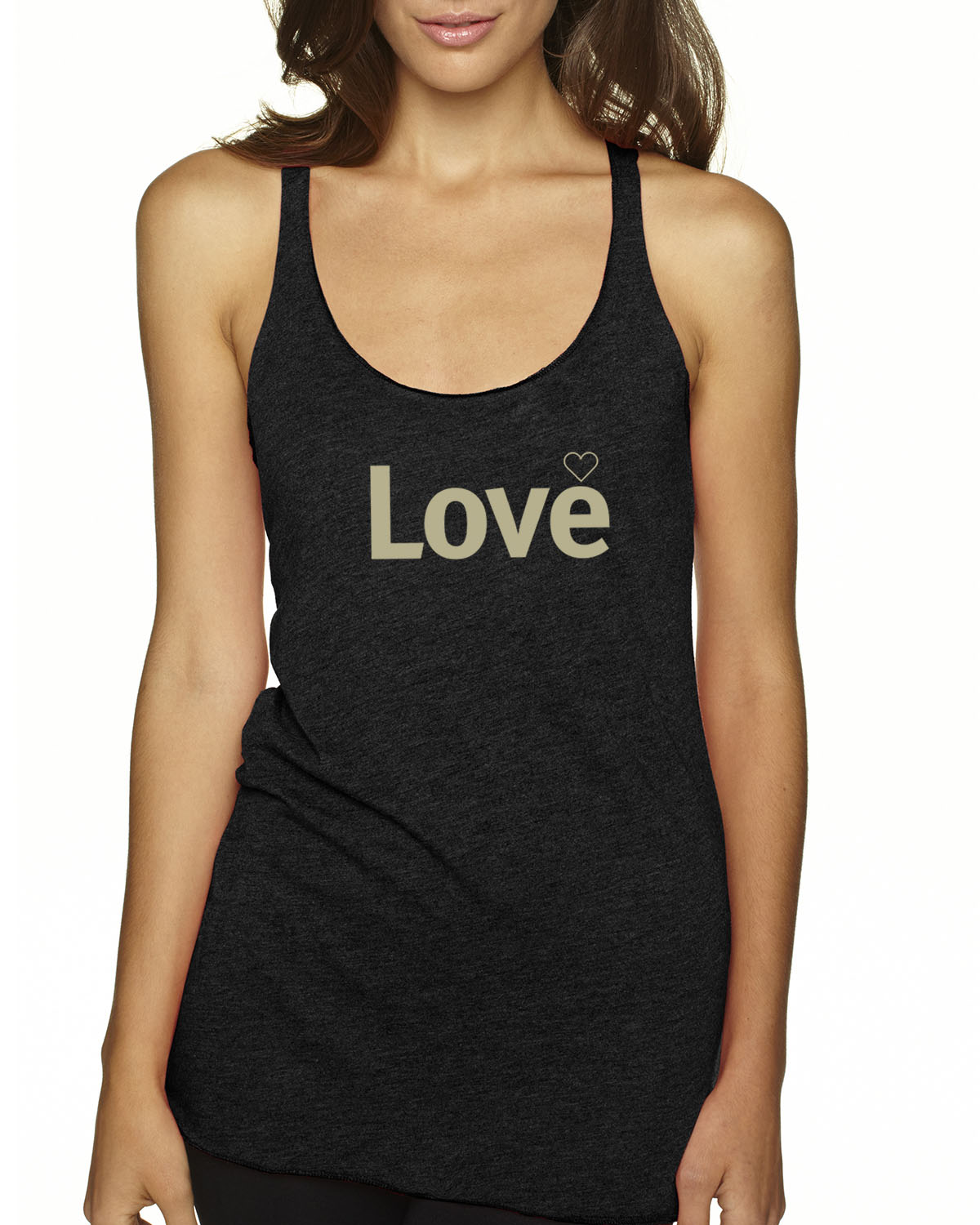 Women's Tri-blend Racer-back tank top (Vintage Black)