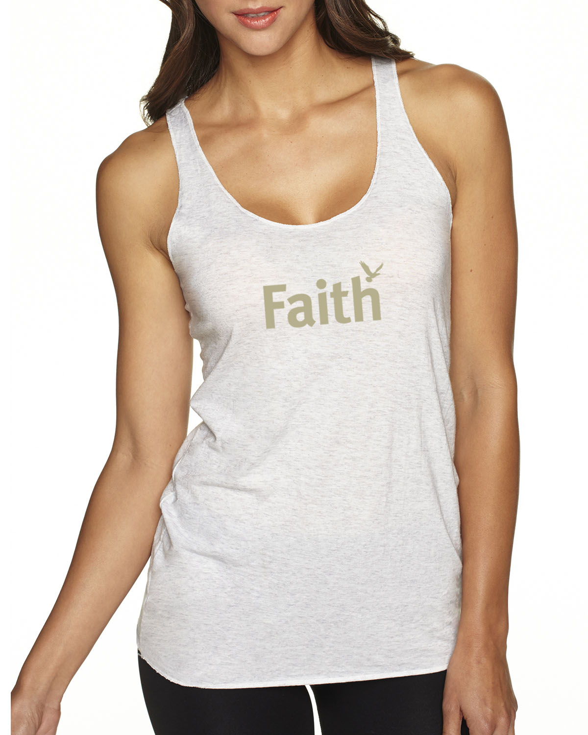Women's Tri-blend Racer-back tank top (Heather White)