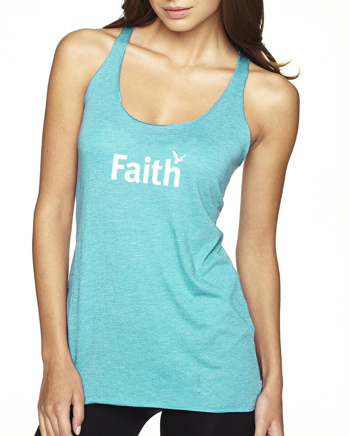 Women's Tri-blend Racer-back tank top (Tahiti Blue)