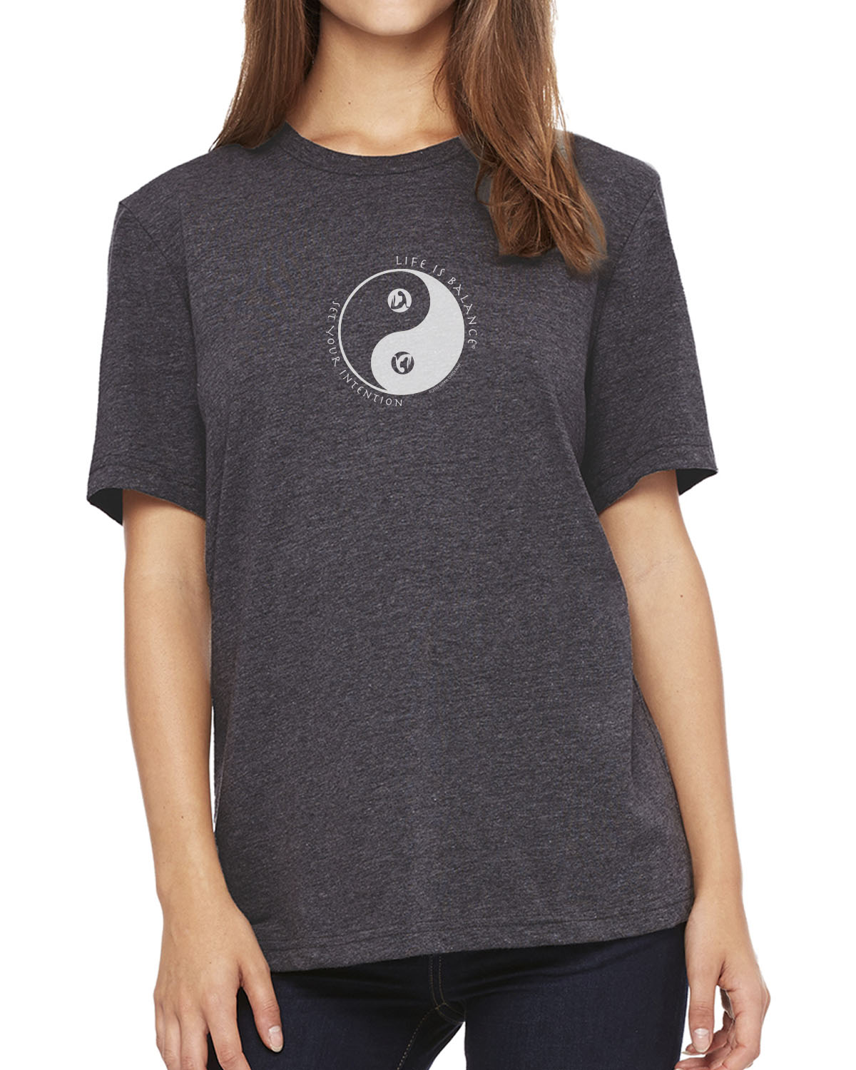Women's short sleeve yoga t-shirt (Dark Gray Heather)
