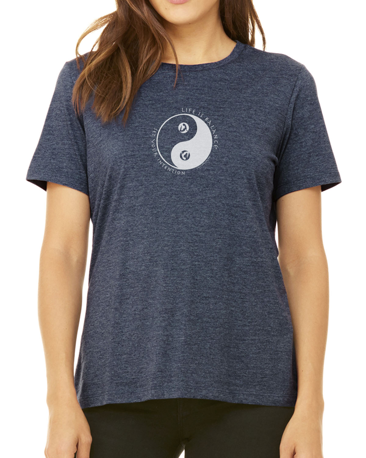 Women's short sleeve yoga t-shirt (Heather Navy)