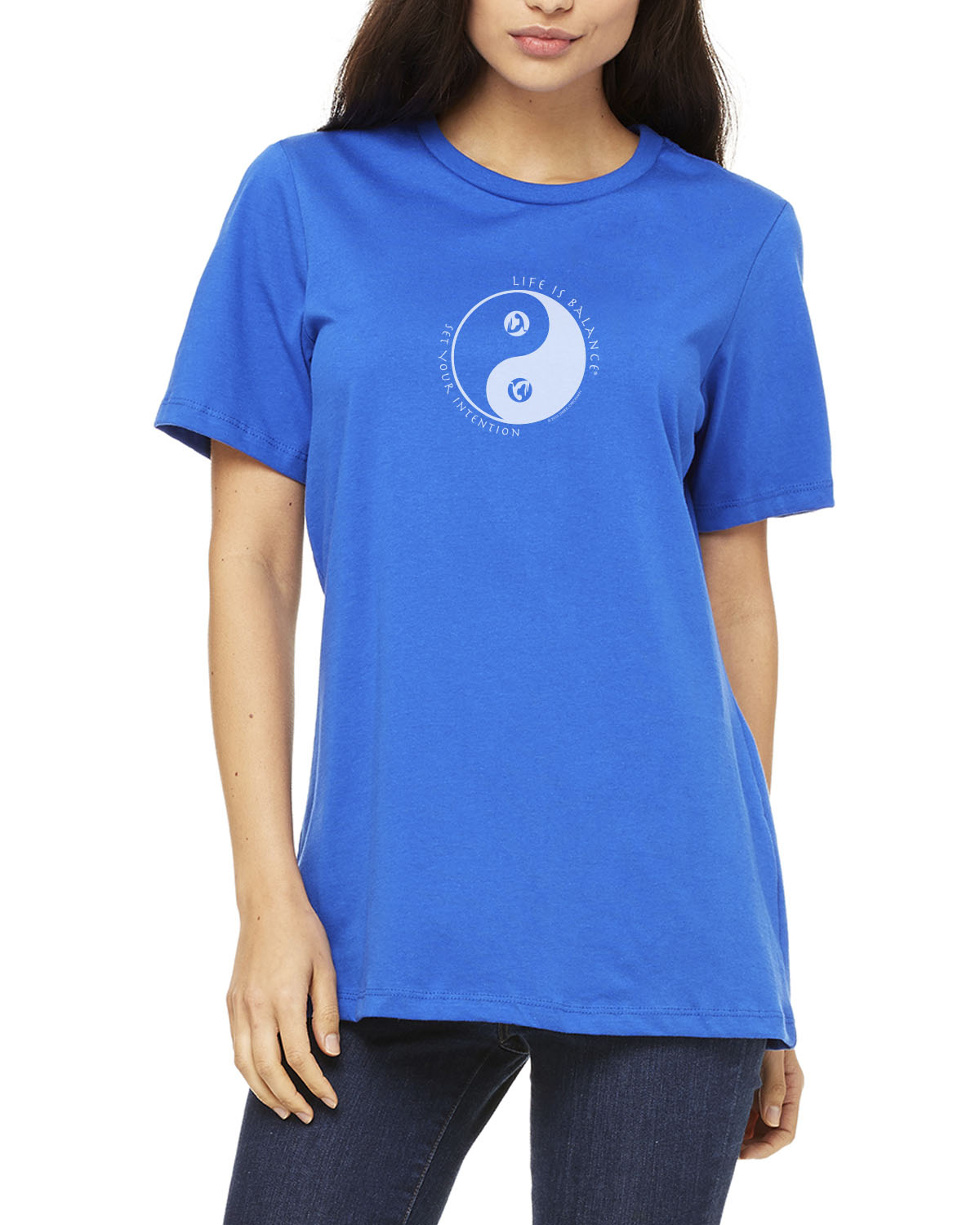 Women's short sleeve yoga t-shirt (Royal)
