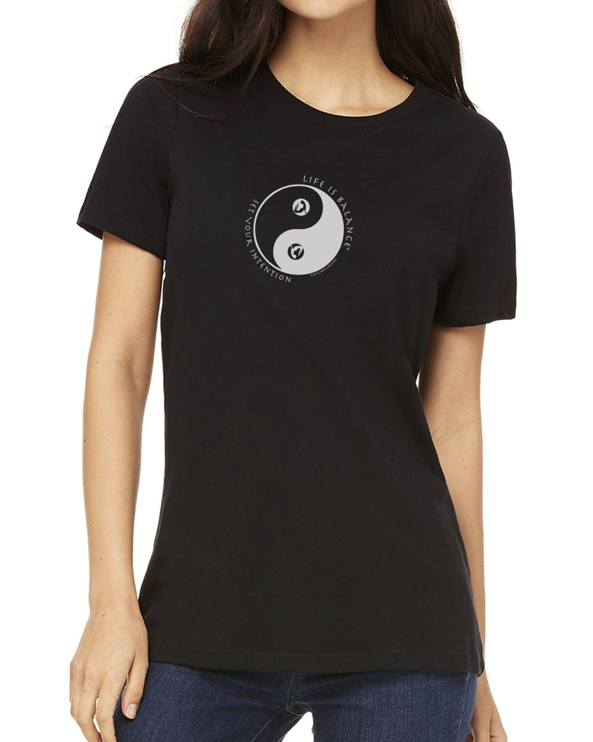 Women's short sleeve yoga t-shirt (Black)